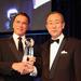 Arnold Schwarzenegger és Pan Gimun, az ENSZ főtitkára.