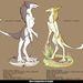 A sergal nevű képzeletbeli lény különböző alfajainak tipikus vonásai