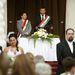 Gyenes Levente polgármester adta össze a párokat, majd castrói hosszúságú beszédben elemezte a párkapcsolatok zökkenőit.