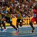 A jamaikai Usain Bolt éppen aranyat nyer