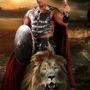 A bátor férfi oroszlánnal, színesen