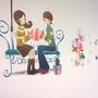 Egy modern, úgynevezett gender neutral (nemsemleges) rajz a falon, nem lehet egyértelműen azt mondani, hogy fiú-lány randiról lenne szó