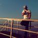 Balatonnál, a lemenő Nap fényében
