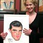 Plasztikmosoly a férj karikatúrája mellett.