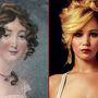 A kép bal oldalán Harriet Mellon látható. Az 1777 novemberében született színésznő korának ünnepelt szépsége volt: először egy gazdag bankár vette feleségül, majd férje halála után öt évvel hozzáment egy nála 23 évvel fiatalabb herceghez. 1837-ben bekövetkezett halála után ormótlan vagyona nem vér szerinti unokájára szállt. A kép jobb oldalán Jennifer Lawrence látható. A színésznő 1990 augusztusában született.