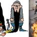 A karikaturista Luz műve, mellette a szalafista zászló elégetésébe torkollt párizsi tiltakozás képei.