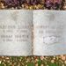 Nyitott könyv alakú sírkő is sok van, ezt például többek között virágokkal díszítették