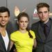 Taylor Lautner, Kristen Stewart és Robert Pattinson a csütörtöki, madridi filmpremieren