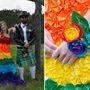 Blair és Zac 56 órán keresztül dolgozott ezen az összeállításon. A lány ruhája kicsit zászlószerű lett, de közelebbről megnézve azért nyilvánvaló, milyen sokat kellett vacakolni a tarka virágokkal. Mind az 1350-nel.