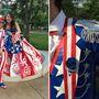 Aaron és Madeline aligha készíthetett volna amerikaibb ruhát ennél a kétszemélyes összeállításnál. A zászló színeivel-mintáival, illetve Uncle Sammel operáló cuccokon 315 órát dolgoztak, a szoknya rózsáit állítólag annak köszönhetjük, hogy az Egyesült Államok nemzeti virága a rózsa. Erről mondjuk most hallunk először.